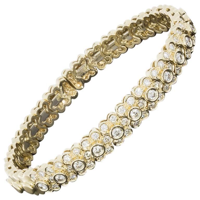 Sonia B Yellow Gold 2 70 Carats Diamond Floral Design Flexible