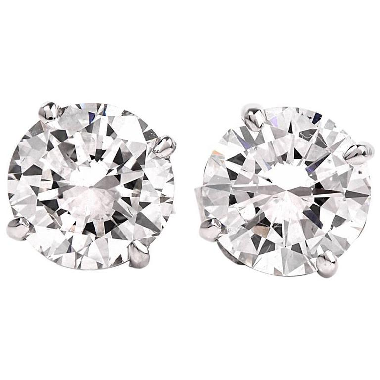 GIA 2.13cts E-F, VS2 Diamond Stud Earrings