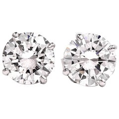 GIA 2.13 Carat E-F, VS2 Diamond Stud Earrings