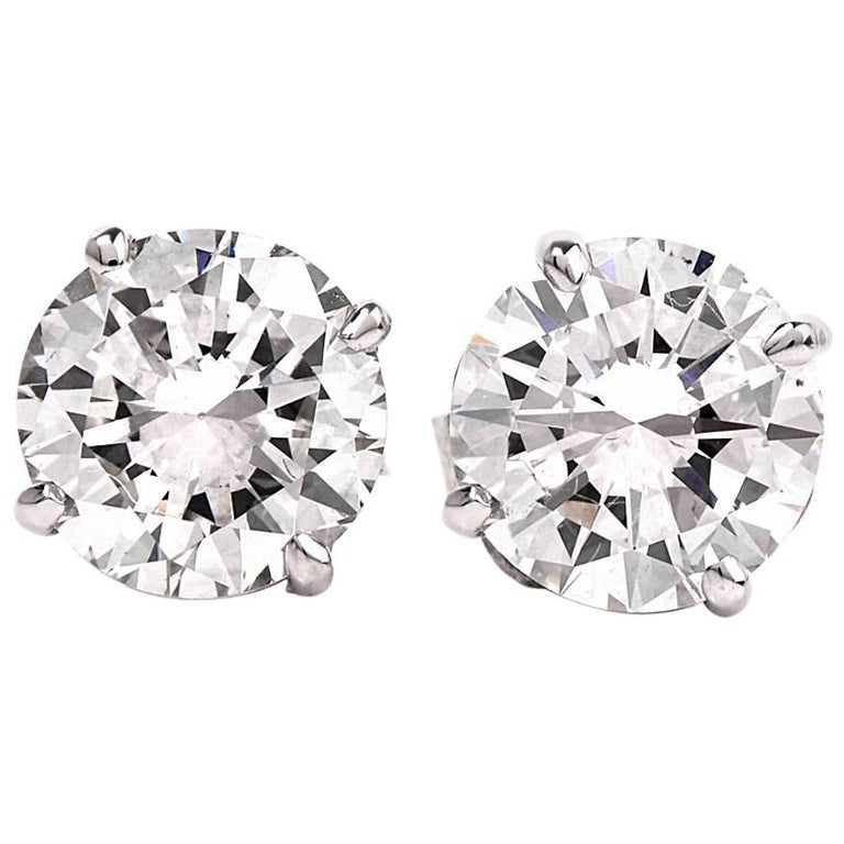 GIA 2.13 Carat Extra White E-F, VS2 Diamond  18k Gold Stud Earrings For Sale