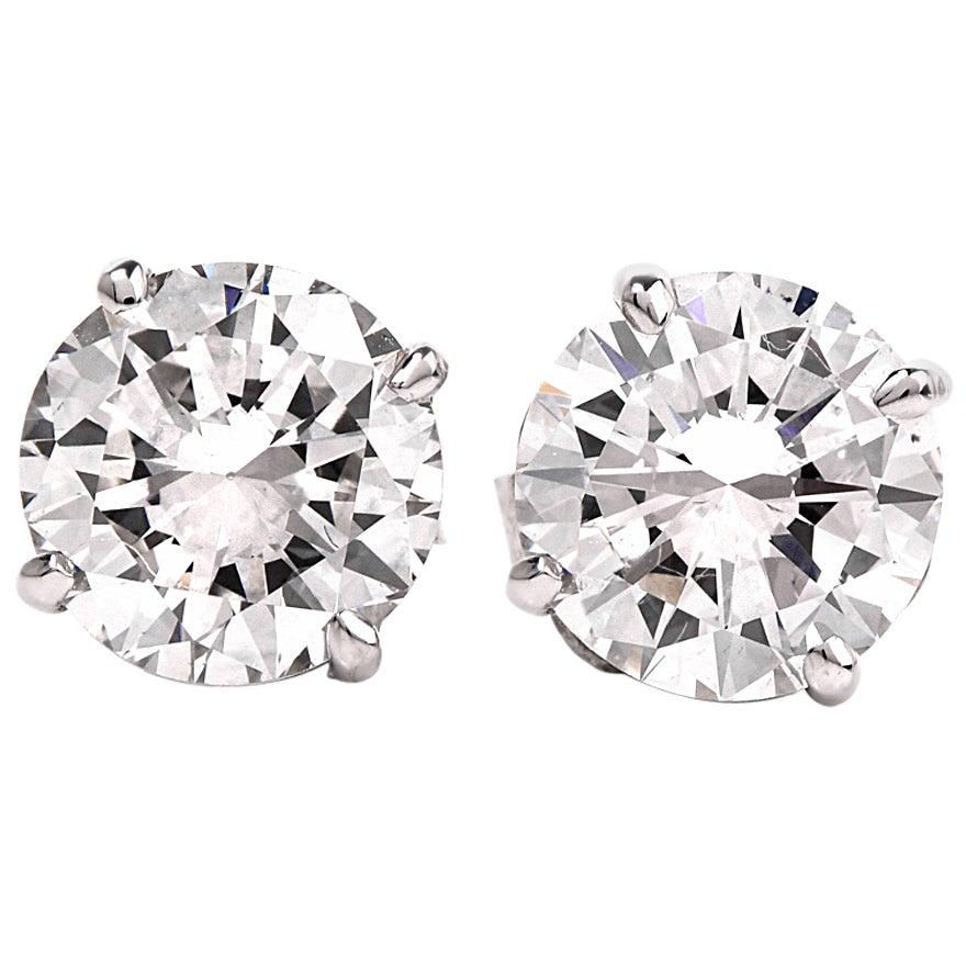 GIA 2.13 Carat Extra White E-F, VS2 Diamond  18k Gold Stud Earrings
