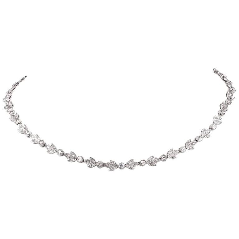 Antique 8.16 Diamond Platinum Leaf Motif Choker necklace