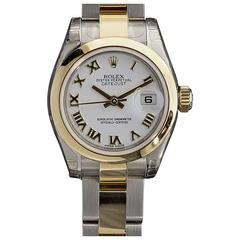 New Ladies Rolex Two Tone 26mm Oyster Datejust White Roman Dial Watch 179163