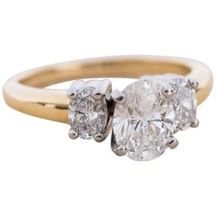 Gold 3 Stone Oval Diamond Engagement Ring