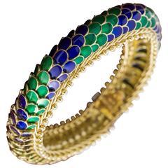 1960's Gold 7 inch Serpentine Enamel Scales bracelet