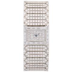 A Lady's Platinum Cartier Wide Bracelet Full Diamond Wristwatch