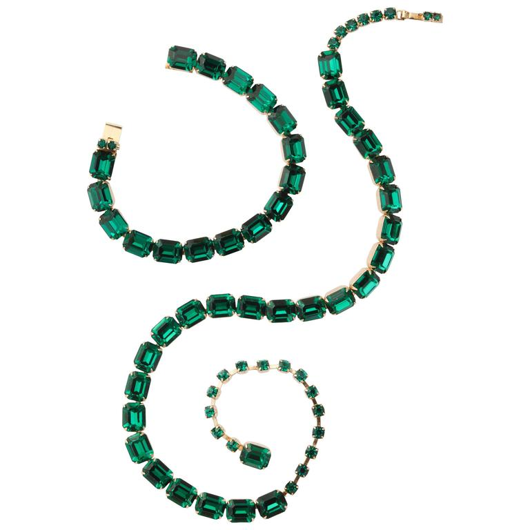 Vintage Emerald Austrian Crystal Vermeil Necklace and Bracelet 1