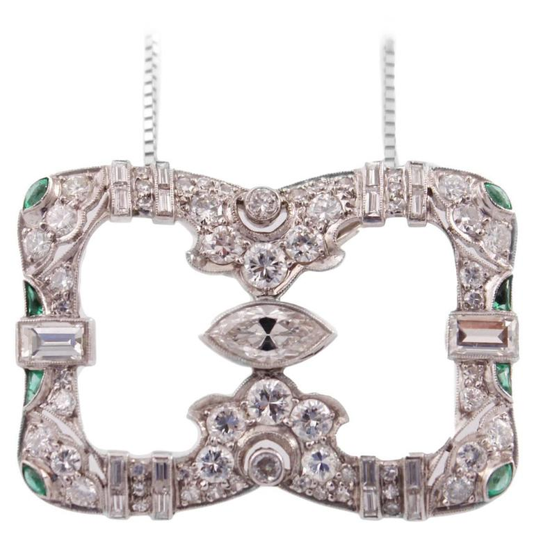Art Deco Emerald Diamond Platinum Pendant Necklace 1