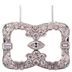 Art Deco Emerald Diamond Platinum Pendant Necklace