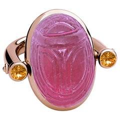 Colleen B. Rosenblat Rubelite Sapphires Rose Gold Scarab Ring