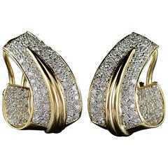 2.00 Carat Total Weight Pave Diamond French Clip Earrings