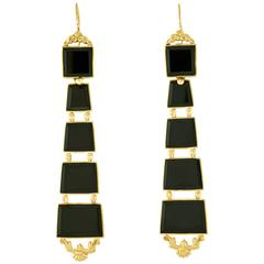 Chic Antique Black Onyx Chandelier Earrings