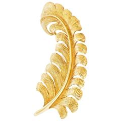 Tiffany & Co. Gold 1950s Feather Brooch