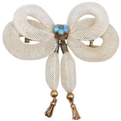 Antique Early Victorian Woven Hair Turquoise Gold Bow Brooch