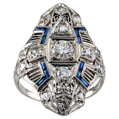 Art Deco Diamond Platinum Dinner Ring