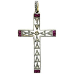 Antique  Rose Diamond Ruby Cross