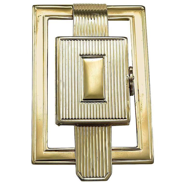 Art Deco Gold Money Clip with Secret Compartment