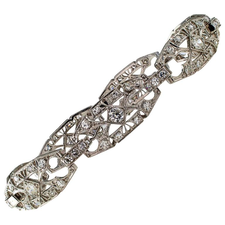 1930s Art Deco Diamond and Platinum Bracelet 1