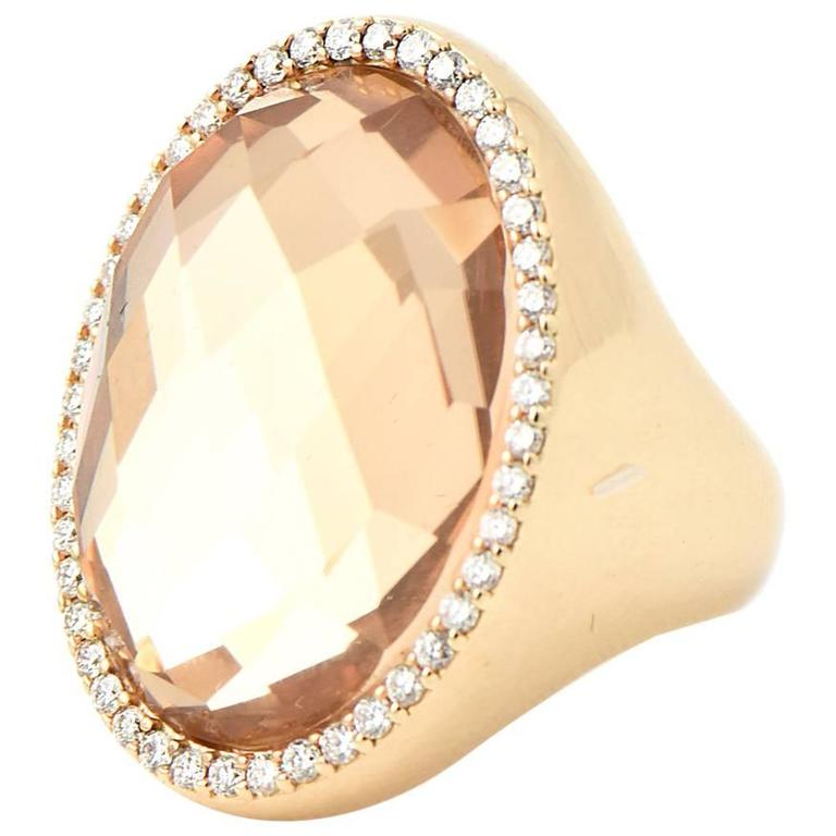 Roberto Coin Classic Diamond Crystal Gold Cocktail Ring