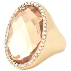 Roberto Coin Classic Cocktail Diamond and Crystal Gold Ring