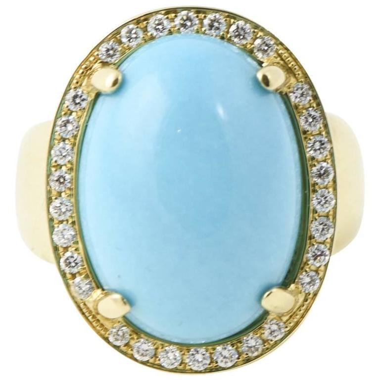 Rina Limor Turquoise Diamond Gold Ring