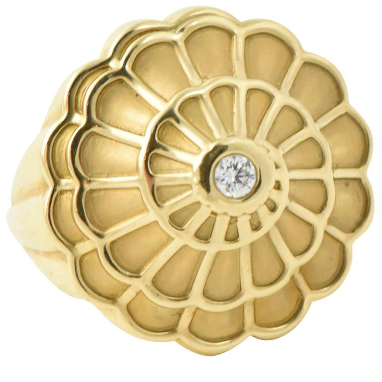 Carrera y Carrera Afrodita Diamond & Gold Flower Cocktail Ring