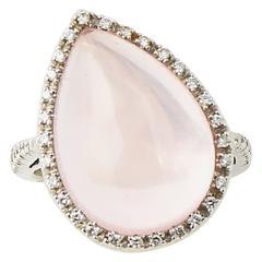 Favero Rose Quartz and Diamond Gold Offset Cocktail Ring
