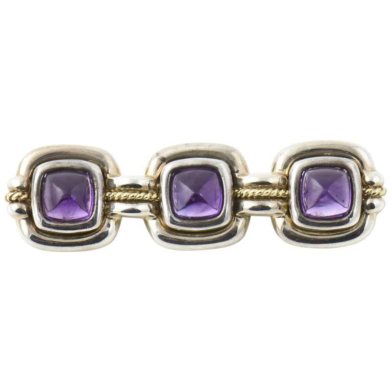 Tiffany & Co. Triple Sugarloaf Amethyst Sterling Gold Brooch  For Sale