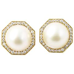 Cellino Mabe Pearl Diamond Gold Octagon Earclip Earrings