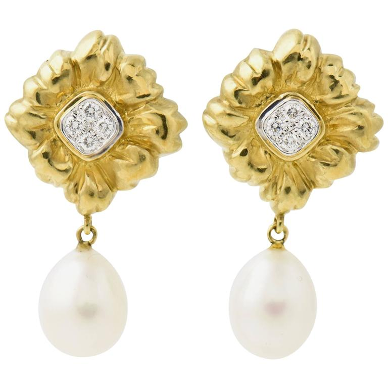 Stylized Diamond Gold Flower Earrings with Pearl Drops For Sale