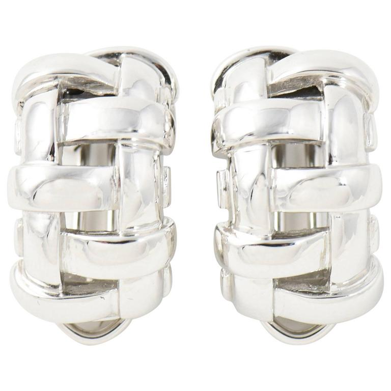 Tiffany & Co. White Gold Basket Weave Clip Earrings 1