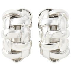 Tiffany & Co. White Gold Basket Weave Clip Earrings