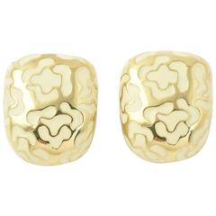 Roberto Coin Enamel and Gold Flower Clip Earrings