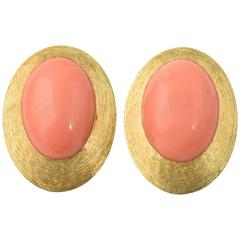 Henry Dunay Coral and Gold Clip Earrings