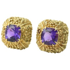 Highly Stylized Amethyst Gold Square Earclips Earrings