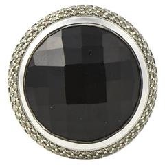 David Yurman Large Cerise Onyx Diamond Sterling Ring