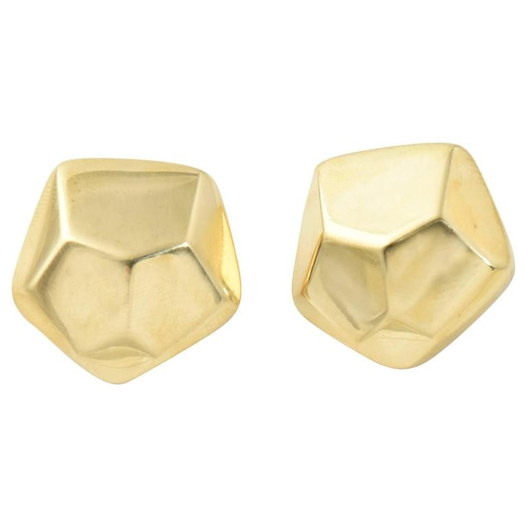 Geometric Three Dimensional Pentagon Gold Earrings 1