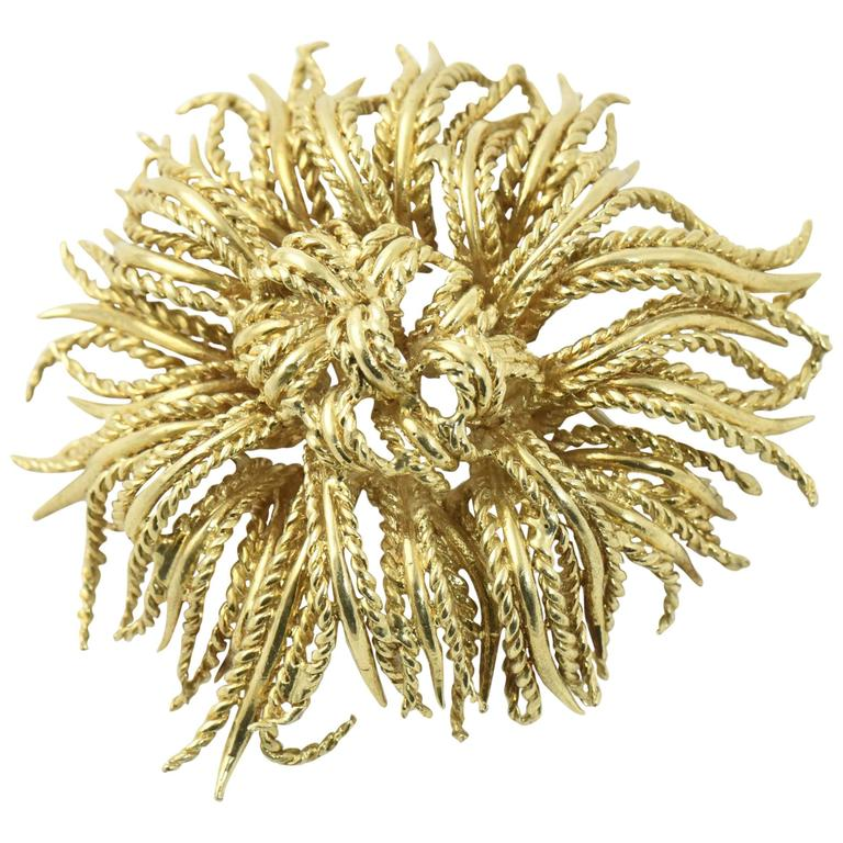 Tiffany & Co. Large Abstract Gold Rope Flower Brooch