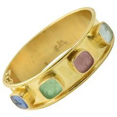 Elizabeth Locke Venetian Glass Intaglio & Gold Bangle Bracelet
