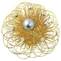 Italian Stylized Gray Pearl, Diamond Gold Wire Flower Brooch