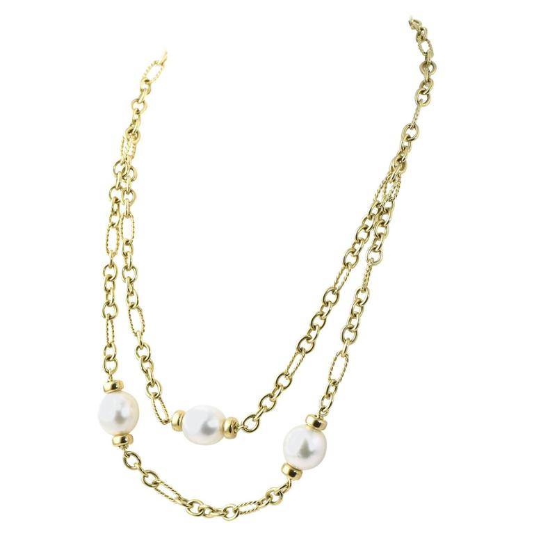 David Yurman 2 Tier Pearl and Cable Link Gold Toggle Necklace