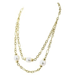David Yurman 2-Tier Pearl and Cable Link Gold Toggle Necklace