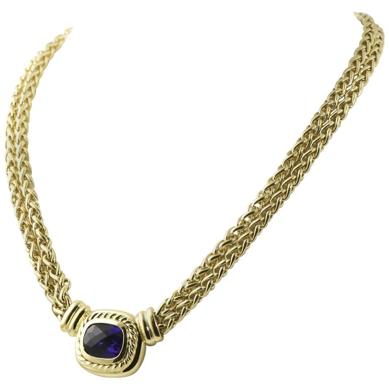 David Yurman Amethyst Gold Necklace with Double Wheat Chain