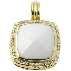 David Yurman Albion White Agate Diamond Gold Pendant Enhancer