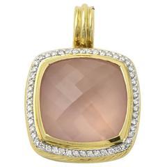 David Yurman Rose Quartz Diamond Gold Albion Pendant Enhancer