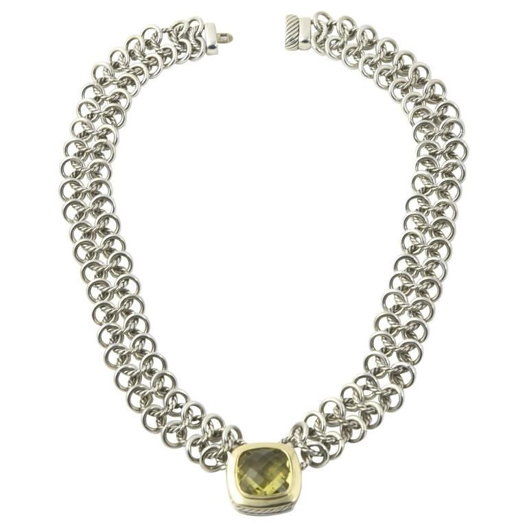 David Yurman Prasiolite Quartz Sterling Gold Woven Cable Link Necklace