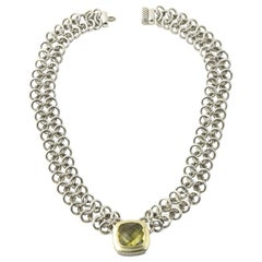 David Yurman Prasiolite Quartz Sterling Gold Woven Cable Link Necklace