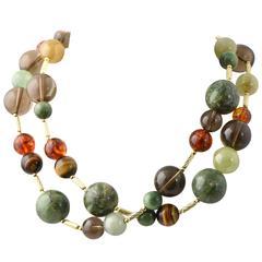 "David Yurman 32"" Gemstone Beads and Gold Popcorn Necklace"