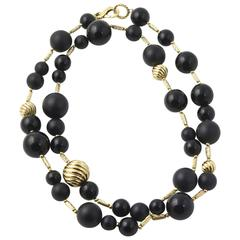 "David Yurman 32"" Onyx and Gold Popcorn Necklace"