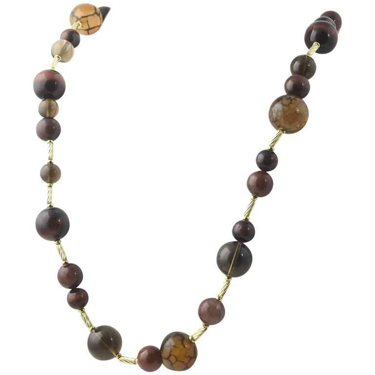 David Yurman Warm Tone Gemstone Beads and Gold Popcorn Necklace